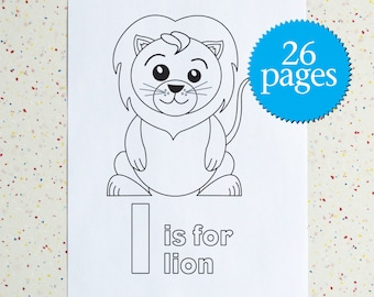 Animal Colouring Pages - Alphabet Zoo - Alphabet Colouring Pages - printable pdf - instant download