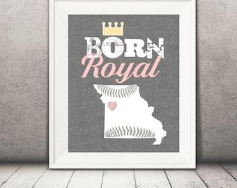 Kansas City Royals Baby Print - Royals Print - Baby Baseball Printable File - Girl