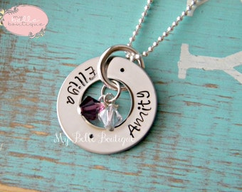 SMALL Personalized Hand Stamped Eternity Washer Necklace with Family Names and Swarovski Birthstones