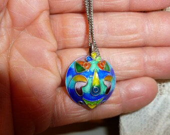 Colorful Enamel Pendant With Silver Tone Chain