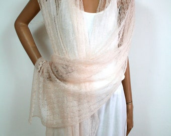 Delicate wedding stole, Summer stole, Aprico, Rose, handmade, pastel, trasparent, Mohairstola, shoulder cloth