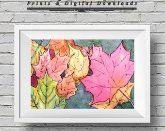 Pen and Wash Watercolour Autumn Leaves - Instant Download