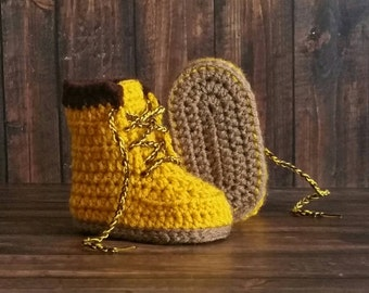 Baby Construction Boots, Baby Boy Shoes, Newborn Booties, Crochet Baby Boots, Work Boots, Baby Construction Boots - Newborn Slippers,