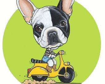 Französische Bulldogge Welpen Originalzeichnung / A4 Größe / gerahmt