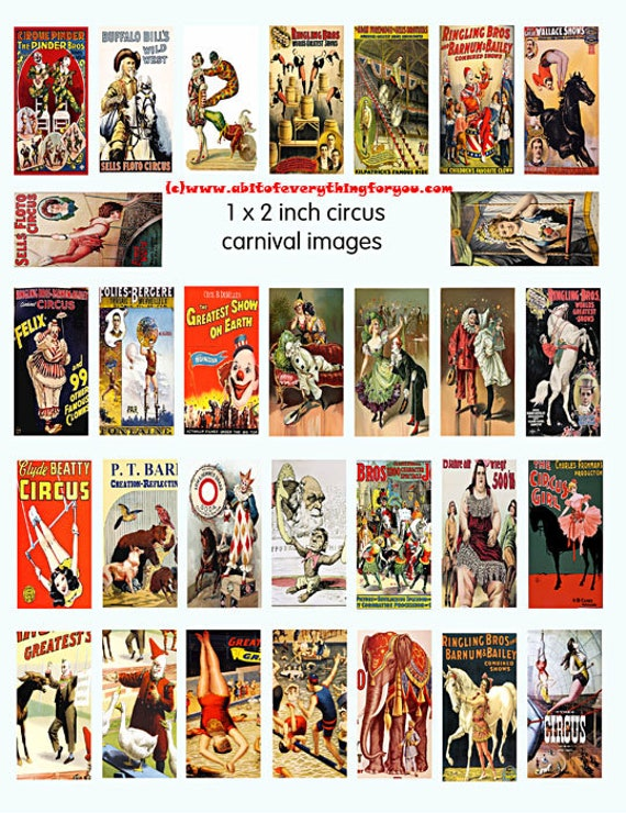 "vintage circus clowns animals clipart domino collage sheet 1"" x 2"" inch digital download graphics images printables for pendants magnets"
