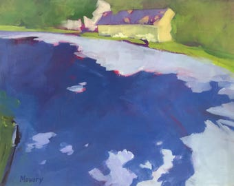 Shadows on the Dogleg - 11x14 inches framed original acrylic landscape painting of crablike shadows on a neighborhood street by Barb Mowery