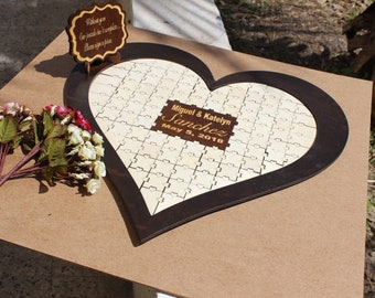 Wedding guest book Puzzle,Wedding guestbook Wood, Jigsaw guestbook,Guest book Puzzle,Personalized puzzle, Wedding puzzle guestbook,Puzzle