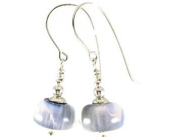 Purple Bead Earring, Lampwork Glass Earrings, silver earrings, gift for her, Gift for Mom, dangle earrings, Handmade lampwork Glass Earrings