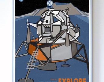 24 x 32 - Apollo 11 Lunar Mission Module Explore, Science Poster Art Print, Stellar Science Series™ - Wall Art