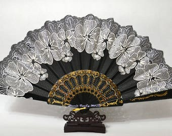 Black fabric Hand Fan, Spanish folding fan, Large hand fan Dancing fan