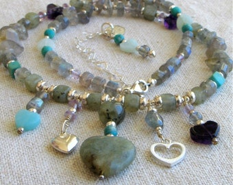 Heart Charms Beaded Necklace, Five Hearts Necklace, Gray and Aqua Short Necklace, OOAK & Ready to Ship, Outstanding Gift for Her