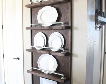 Industrial Pipe Plate Rack | Plate Rack | Plate Display | Rustic Kitchen | Industrial Kitchen | Kitchen Storage | Kitchen & Plate rack | Etsy