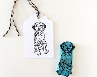 Dalmatian rubber stamp, puppy stamp, cute hand carved stamp, pet portrait stamp