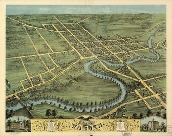 Warren Ohio - 1870 Birds Eye View - Reprint