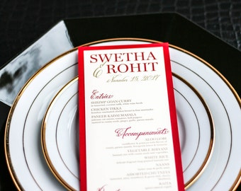 "Indian Wedding, Red and Gold Wedding Decor, Reception Decor, Dinner Menus, Indian Menu - ""Modern Henna"" Flat Menu, 1 Layer - DEPOSIT"