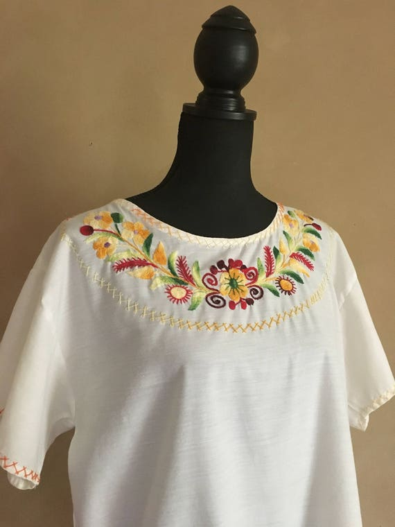Vintage White Cotton Hand Embroidered Mexican Style Blouse