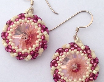 Orecchini rosa con cristalli Swarovsky - Pink Earrings with Swarovsky Crystal