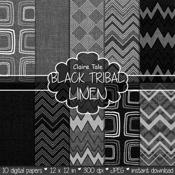 """Tribal digital paper: """"BLACK TRIBAL LINEN"""" with tribal patterns on linen canvas in black color backgrounds and textures for photographers"""