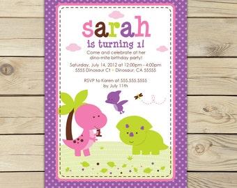 Girl Dinosaur Birthday Invitation - Girl Dinosaur Invitation - Girl Dinosaur Party - Girl Birthday Invitation - pink dinosaur party