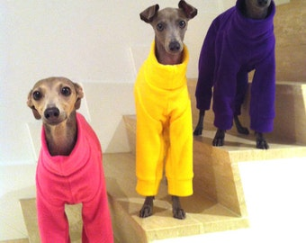 Plain Colour Fleece Italian Greyhound Jammies/Pajamas/Snowsuit Pink, Purple, Red, Orange, Yellow - measurements essential for correct fit