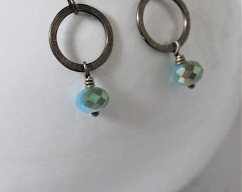 Boho Jewelry, Circle Earrings, Bohemian Jewelry, Crystal Earrings, Vintaj Earrings, Hammered Earrings, Made in Ohio, Gift, Blue Earrings