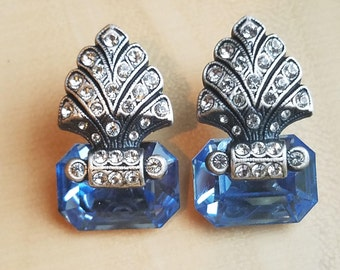 Vintage Marcasite Aquamarine Earrings