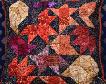 Large Throw Pillow Cover, Leaves Patchwork, Orange, Red, Gold and Brown, 100%  Cotton, with Free Motion Quilting, Velcro Closure