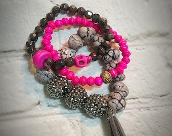 Pink Skull Bracelet Stack