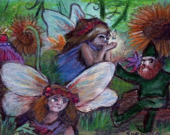 original art drawing aceo card fairies and leprechaun St Patricks Dat