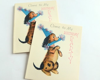 Child's Birthday Party Invitations Lot of 10 Unused Fill-in-the-Blank Mid Century Cards