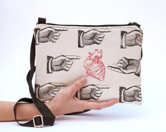 Purse small crossbody bag Fabric Crossbody purse Shoulder bag Crossbody wallet fabric wallet clutch bag book sleeve anatomical heart anatomy
