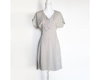 Vintage Grey Midi Dress   Short Sleeve Sundress   Checkered Midi Day Dress - Size M Medium