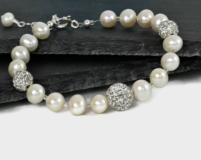 Freshwater ivory pearl and crystal Bracelet, perfect for wedding, bridal jewellery, with sterling silver, gift for mother of groom