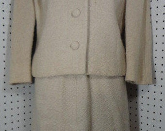 Vintage Womens Mohair Two Piece Suit with Fur Collar Briney Marlin