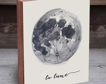 Moon Print - Moon Art - La Lune - Moon Art Print - Wood Art Print