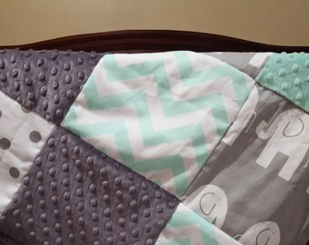Elephant Patchwork Blanket- Mint Chevron, Gray Ele, White Gray Dot, Gray Minky, and Mint Minky Patchwork Baby Blanket