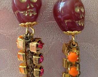 Splash of Colour Skull Earrings