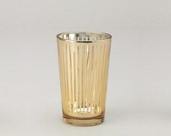 Striped Glass Candle Holder- 6pcs/box GOLD