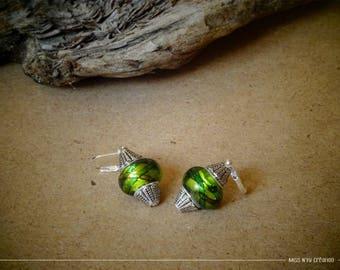 Green & multicolored ethnic earrings & Lampwork Glass Beads