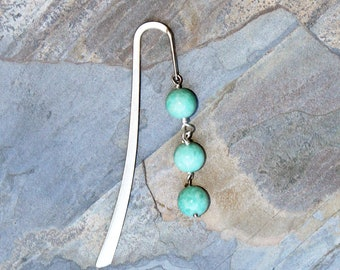 Aqua Blue Bookmark, Amazonite Bookmark, Boho Bookmark, Stone Bookmark, Beaded Bookmark, Bookclub Gift, Gift For Reader, Vine Bookmark