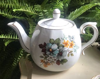 Vintage Ellgreave Woods and Sons England Mid Century Ironstone Teapot