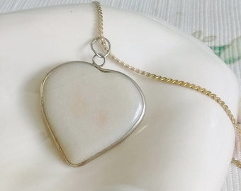 "White Heart Necklace on 24"" Chain,"