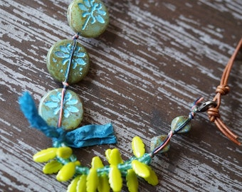 Unlisted - Bracelet - Boho Jewelry - Dragonfly Jewelry - Chunky Jewelry - Leather - Eclectic - Turquoise and Olive - Bead Soup Jewelry