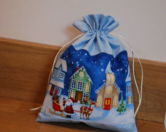 Drawstring Christmas Gift Bag, Christmas Gift Bag, Santa Christmas Gift Bag, Drawstring Santa Sack, Small Christmas Gift Sack, Gift Bag