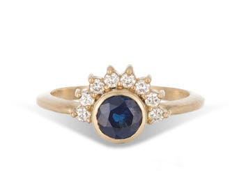 Arunika 14k gold, blue sapphire and diamond halo engagement ring