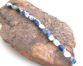 14 Blue & White Matte Sodalite Rice Beads - Small Deep Blue and White Cream, Tiny Barrels  8 mm