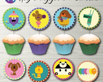 """Hey Duggee Cupcake Toppers, Hey Duggee Party Decoration, Hey Duggee Badges, Hey Duggee 2"""" Circles Hey Duggee Decoration Party Printable"""