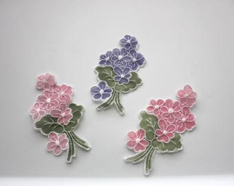 Set of 3 Embroidered Lace Appliques - 2 Pink and 1 Purple