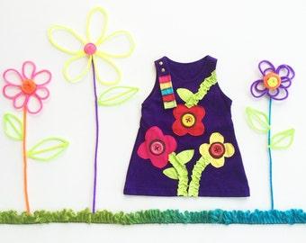 Girl's Dress, FLOWER Dress, FLOWER Clothing, Handmade Clothing, Applique Dress, Applique Clothing, Purple Dress, Children's Dress