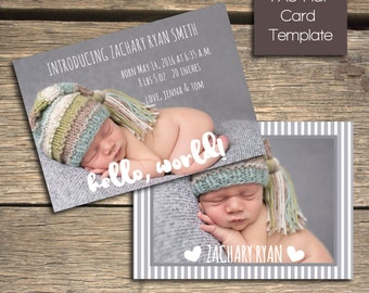 INSTANT DOWNLOAD - Birth Announcement - 7x5 Photoshop Template - B105